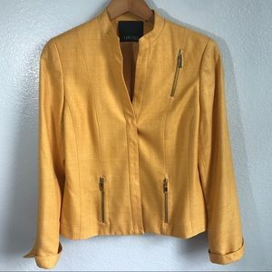 Carlisle 100% Silk Orange Blazer Jacket Sz 6
